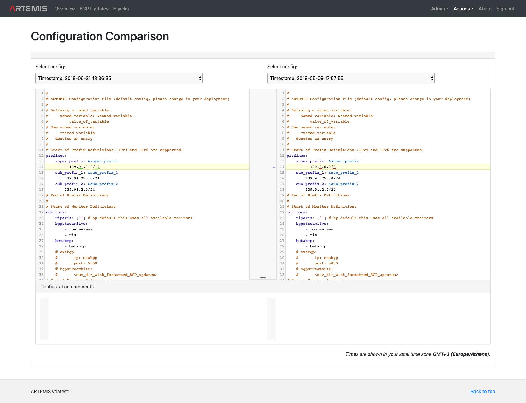 ARTEMIS - Config Comparison Page