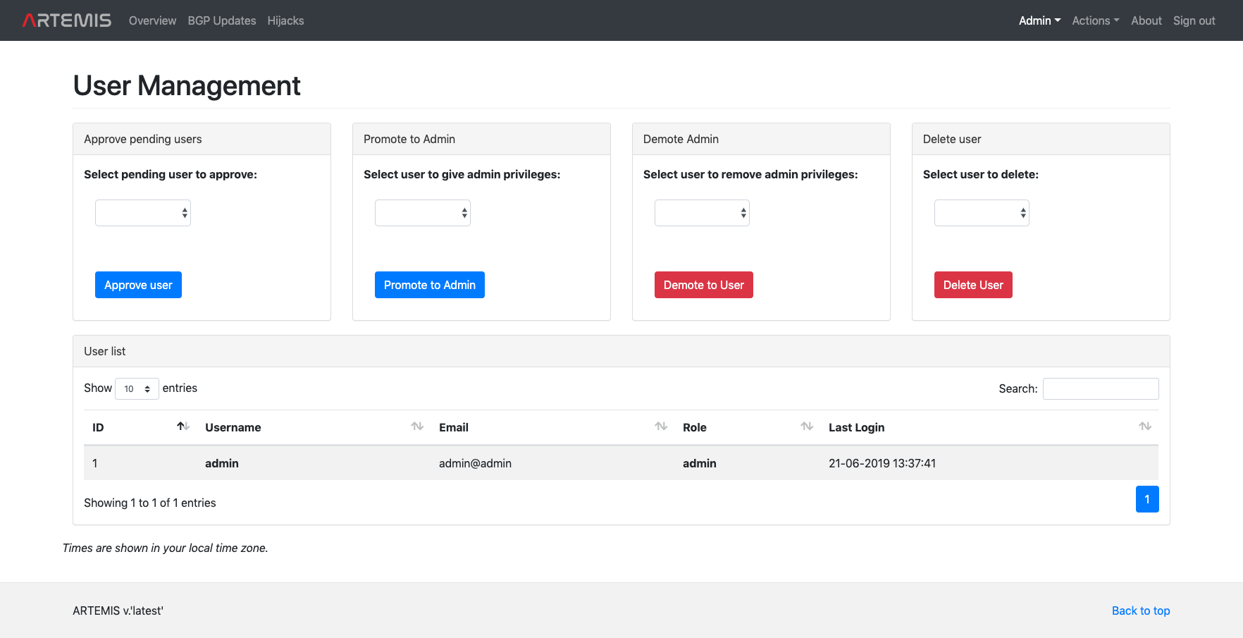ARTEMIS - User Management Page